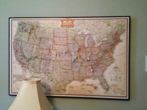 A map, cork board, foam core and frame make a great way for me to map my ancestors!