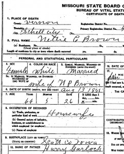 My great great grandmother's death certificate