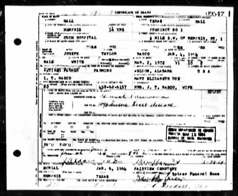 1964 Death Certificate blurry-Joseph Taylor Rasco-Memphis