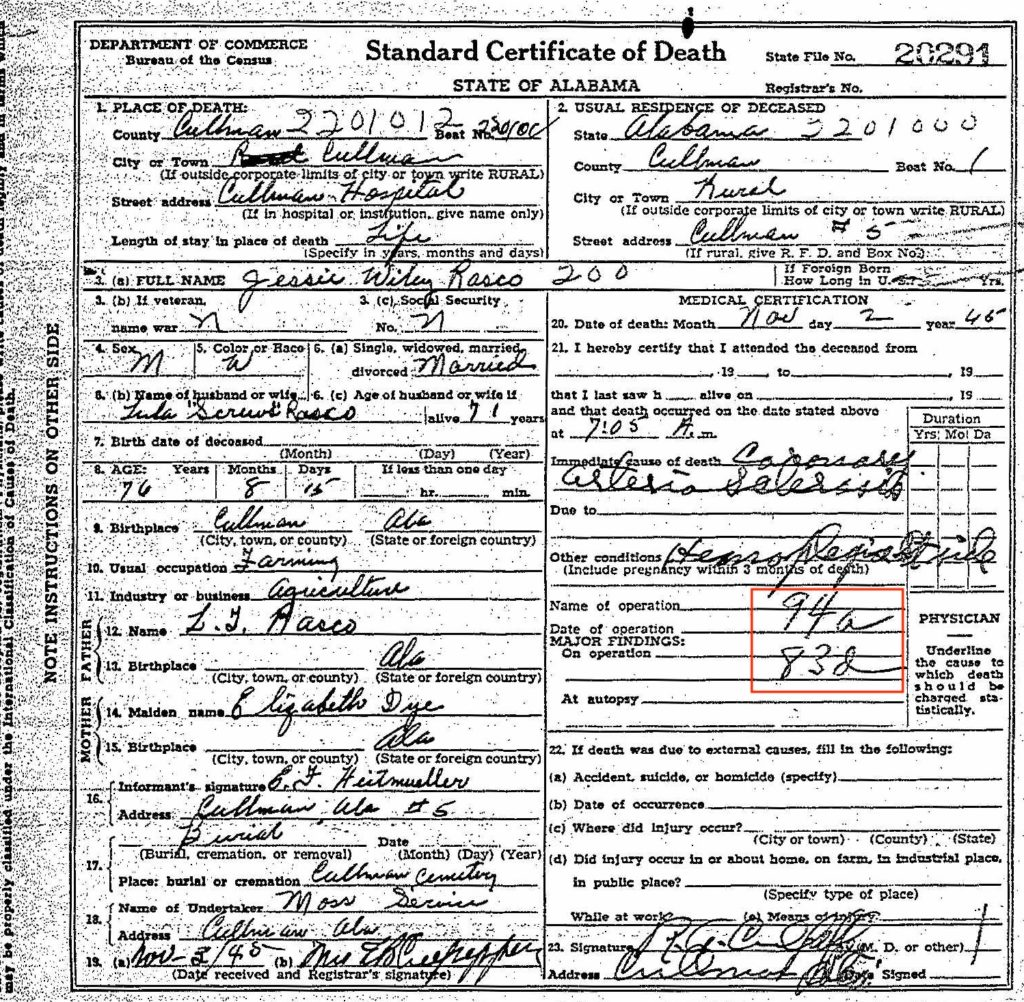 Death certificate for Jesse Wiley Rasco