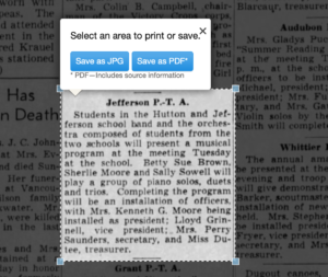 Processing an article from Newspapers.com Step Three